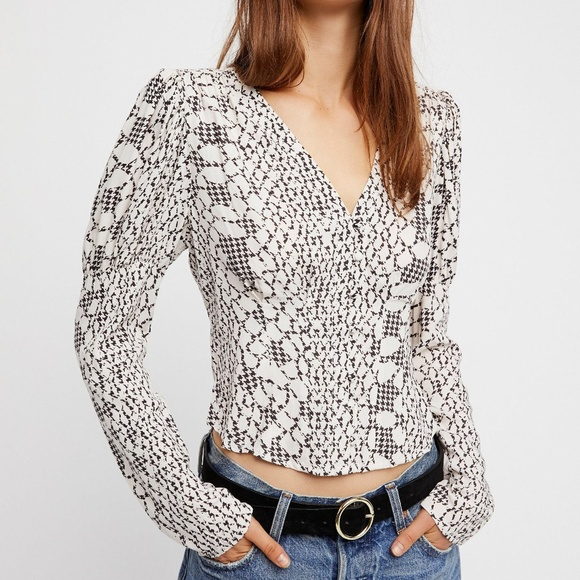 Free People Tops - Free People Black and White Blouse